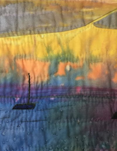 Alanna Nelson Salt Pond Sunset Block Island art quilt