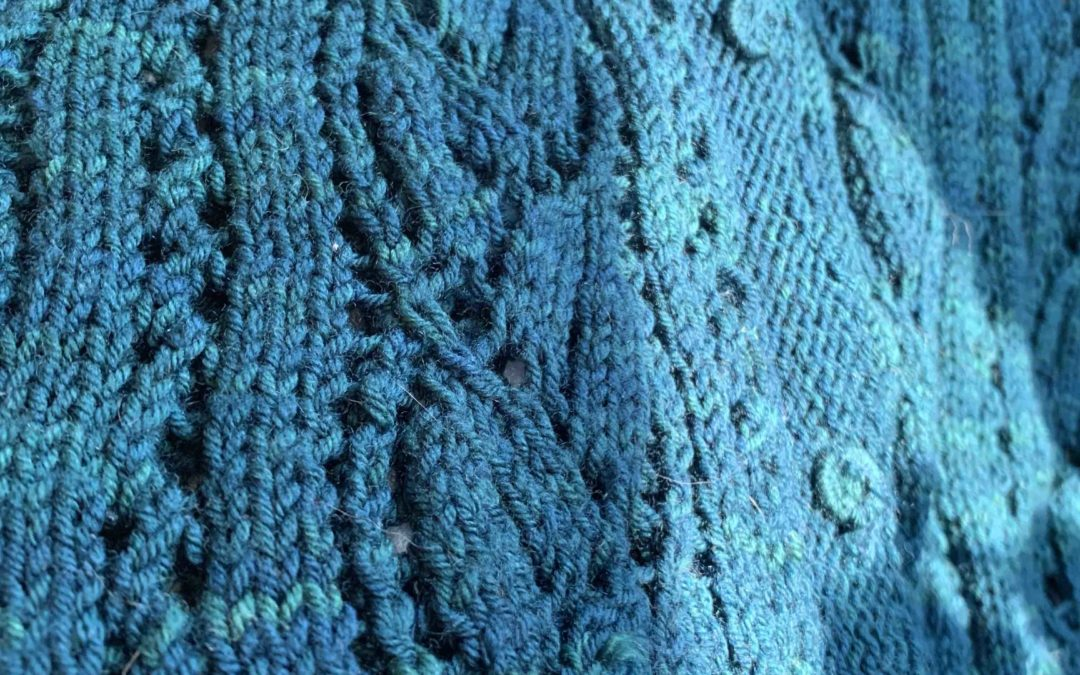 lace Myrtle cardigan detail knit by Alanna Nelson